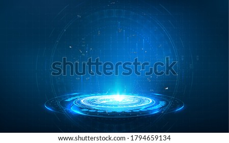 Portal and hologram futuristic circle on blue isolate background. Abstract high tech futuristic technology design. round shape. Circle Sci-fi elements with light and lights. Vector illustration