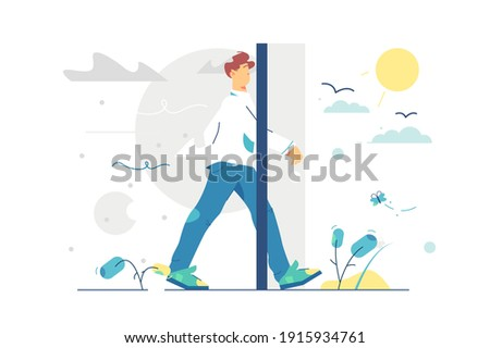 Portal door to better living vector illustration. Man step from grey and sad life to sunny and happy life flat style. New life, change your mind, season change concept. Isolated on white background Stock photo ©