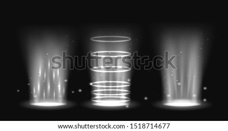 Portal set light effect hologram. Magic circle teleport podium. Ufo swirl beam and ray energy funnel.