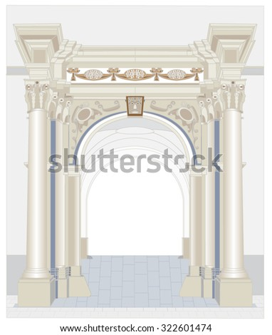 Portal significant historical buildings in the pseudo-Gothic style, shaped columns with Renaissance capitals, vault in passage and relief decorations of the vault