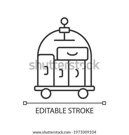Porter service linear icon. Carrying guest luggage to the guests room. Outlining hotel facilities. Thin line customizable illustration. Contour symbol. Vector isolated outline drawing. Editable stroke Сток-фото ©