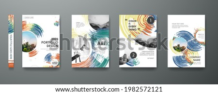 Portfolio art design vector set. Abstract oil brush shape on cover book presentation. Watercolor paint brochure layout and modern report business flyers poster template.