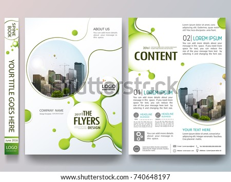 Portfolio design template vector. Abstract graphic green circle shape on cover book presentation. Minimal brochure report business flyers teen magazine poster.