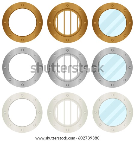 Porthole of the ship. Flat design, vector illustration, vector.