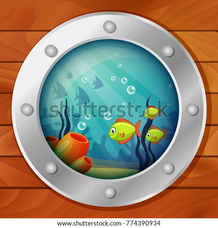porthole of the underwater boat