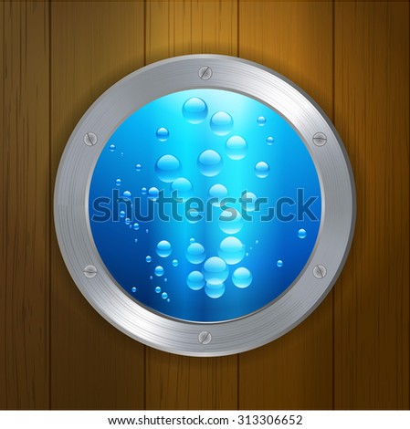 porthole window with blue water