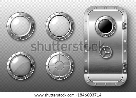 portholes and metal door in