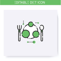 Portion size plate line icon. Serving size. Diet. Weight loss. Portion control. Healthy eating. Dietary nutrition. Calorie count. Slimming concept. Isolated vector illustration. Editable stroke