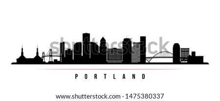 Portland City skyline horizontal banner. Black and white silhouette of Portland City, Oregon. Vector template for your design.  Photo stock ©