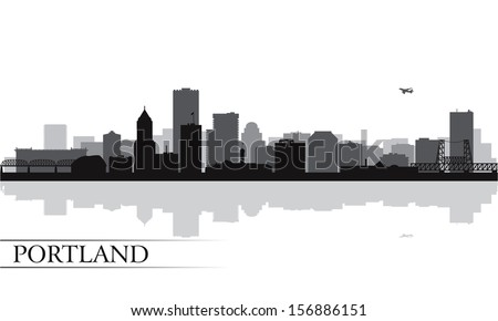 Portland city skyline silhouette background. Vector illustration
