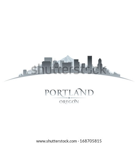 Portland Oregon city skyline silhouette. Vector illustration