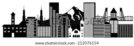Portland Oregon Outline Silhouette with City Skyline Downtown Panorama Black Isolated on White Background Vector Illustration