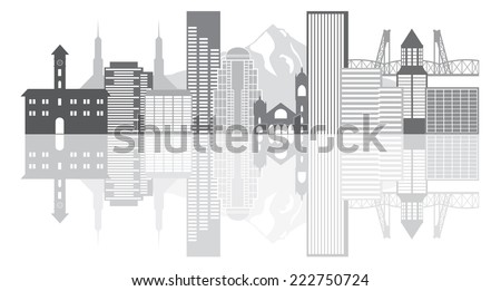 Portland Oregon Outline Silhouette with City Skyline Downtown Panorama Grayscale Reflection Isolated on White Background Vector Illustration