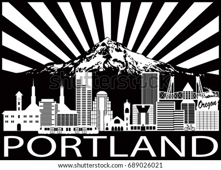 Portland Oregon Outline Silhouette with City Skyline with Mount Hood Sun Rays Black Isolated on White Background vector Illustration