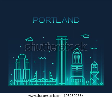 Portland, Oregon, USA. Trendy vector illustration, linear style