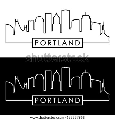 Portland skyline. Linear style. Editable vector file.