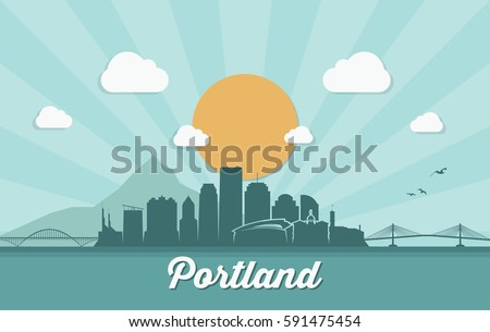Portland skyline - Oregon - vector illustration
