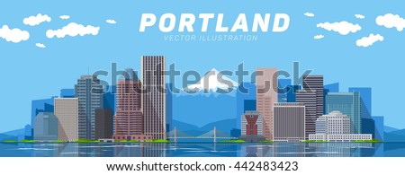 Portland skyline vector illustration. Travel and tourism background. Vector blue and mountain background. Line and flat illustration.