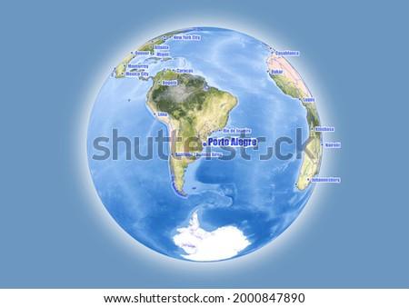 Porto Alegre-Brazil is shown on vector globe map. The map shows Porto Alegre-Brazil 's location in the world. Foto stock ©