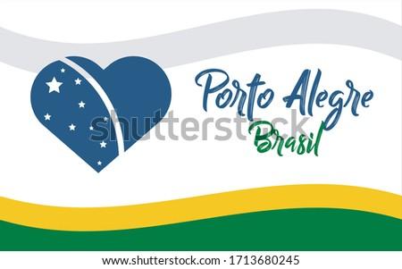 Porto Alegre, cidade do Brasil, BR (Porto Alegre, city of Brazil, BR in portuguese) banner heart for print and tourism. Foto stock ©