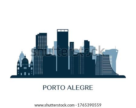 Porto Alegre skyline, monochrome silhouette. Vector illustration. Foto stock ©