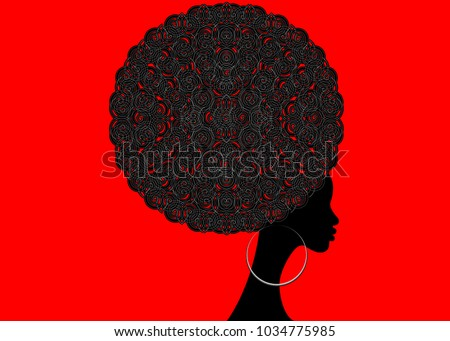 portrait African Women , dark skin female face with hair afro and ethnic traditional earrings on vector isolated , Curly Afro hair style concept in the Red Background