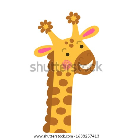 portrait baby giraffe with long