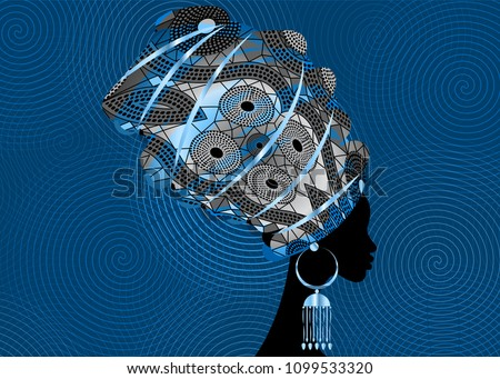 portrait beautiful African woman in traditional turban, Kente head wrap African, dashiki printing, black afro women vector silhouette with African metal earring. Vector twist shape pattern background