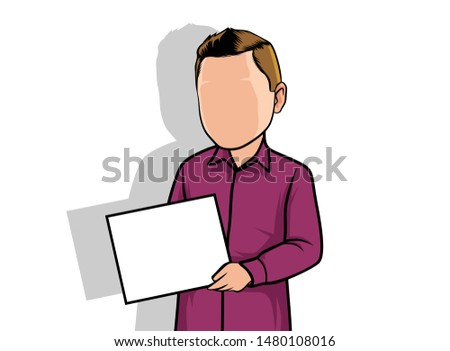 portrait caricature, illustration of a man holding a blank paper.
