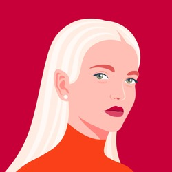 Portrait of a beautiful girl in half-turn. Young blond woman. Avatar for social networks. Fashion and beauty. Bright vector illustration in flat style