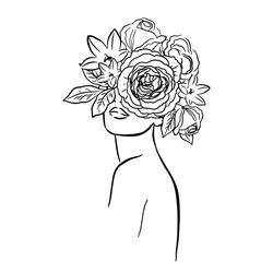 Portrait of a beautiful girl with flowers in her hair. One line trend. Fashion. Femininity. Vector illustration on a white background