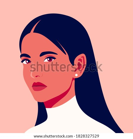 Portrait of a beautiful woman in half-turn. Avatar for social networks. Vector illustration in flat style.