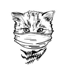 Portrait of a cat in a medical mask. Pandemic. COVID-19. Black and white graphics. Sketch drawing. The head of a cat.
