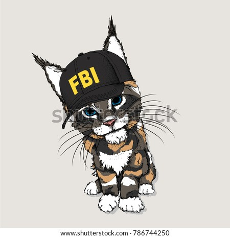 Portrait of a cat in the cap of an FBI agent. Can be used for printing on T-shirts, flyers, etc. Vector illustration