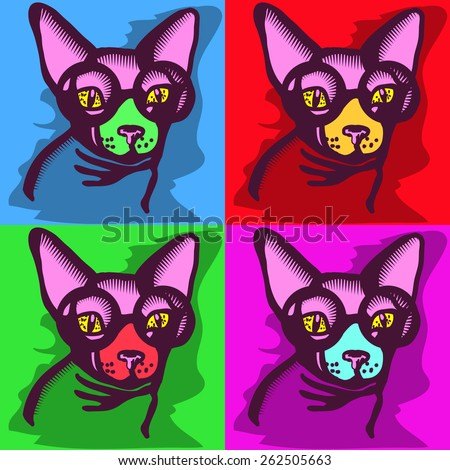 portrait of a cat picture, sphinx with glasses on four different colored squares