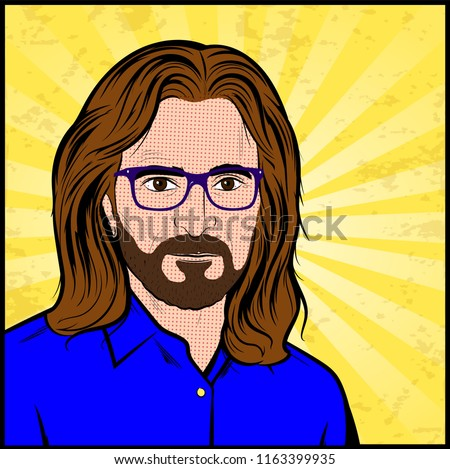 Portrait of a Caucasian male with long hair, beard, glasses and mustache - Vector Illustration In Pop Art Comic Style