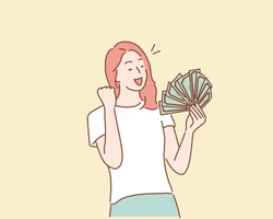 Portrait of a cheerful young woman holding money banknotes and celebrating isolated over yellow background. Hand drawn style vector design illustrations.