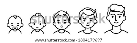 Portrait of a child at different ages. The stages of growing up from infant to senior student. Black line icons.