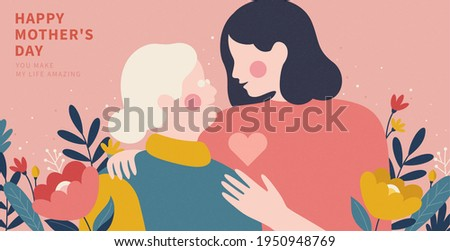 Portrait of a daughter hugging her old mother from shoulder. Illustrated in flat design on pink background. Concept of senior care for moms or happy mother's day.
