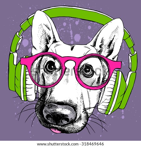 Stock Photo Portrait of a dog German shepherd in pink glasses and green headphones on violet background. Vector illustration.