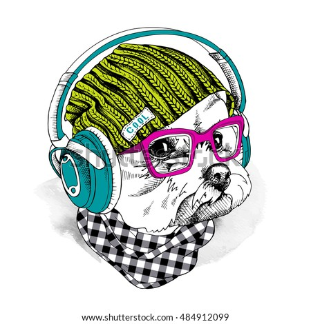 Portrait of a dog Maltese in a hipster knitted green hat and in a blue Headphones and with pink glasses. Vector illustration.