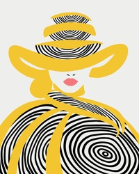 Portrait of a girl in a hat and coat. The colors are yellow and black. Red lips. Minimalist style, round linear abstraction. Modern portrait, T-shirt print, postcards, posters, fashion, design.