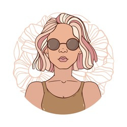 Portrait of a girl in round sunglasses. Pink hair, makeup. Abstract background of flowers. Graphic artwork, sticker design, banner, poster. Vector illustration in retro style. Hippie, funk, fashion.