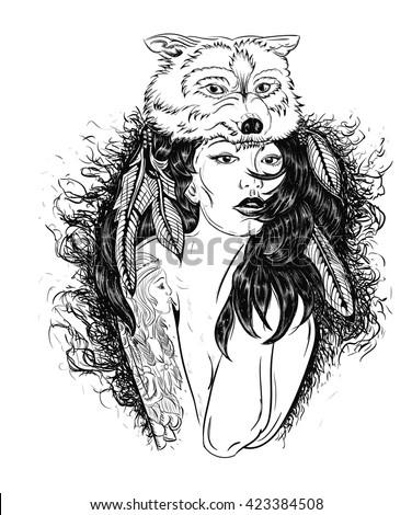 portrait of a girl in wolfs