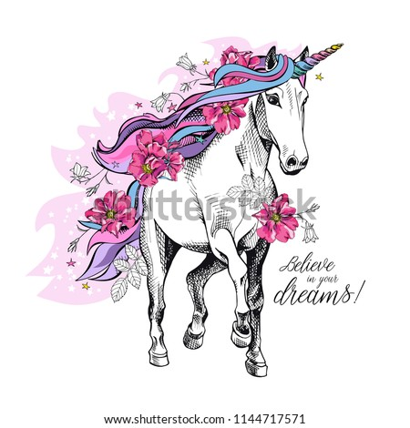 Portrait of a magical unicorn with a bright colored starry mane, horn, tail and a pink flowers. Poster, t-shirt composition, handmade print. Vector illustration.