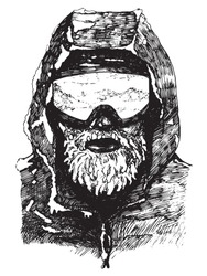 Portrait of a male athlete in ski goggles in the cold, with a hoarfrost covered beard. Black and white ink drawing.