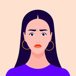 Portrait of a nervous girl. Excited female face. Avatar. Shock and stress. Vector flat illustration