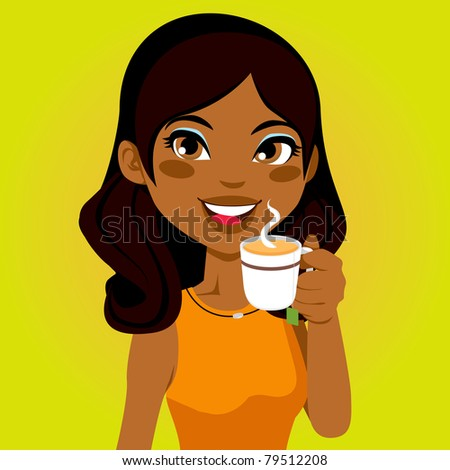 Portrait of a pretty african woman drinking a cup of herbal infusion