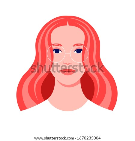 Portrait of a redhead woman. Avatar of a caucasian girl adult for social network. Colorful portrait. Student of the university. Vector flat illustration