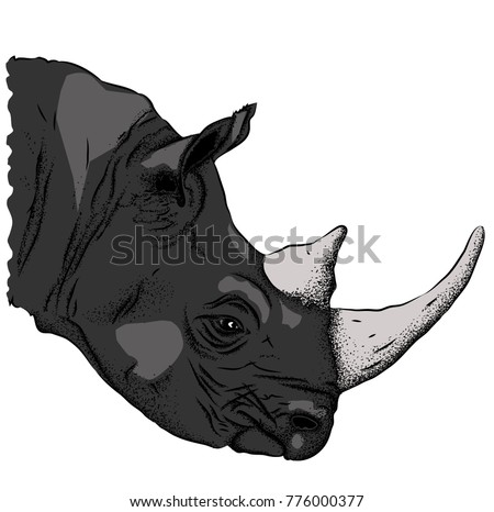 Portrait of a rhinoceros. Can be used for printing on T-shirts, flyers and stuff. Vector illustration